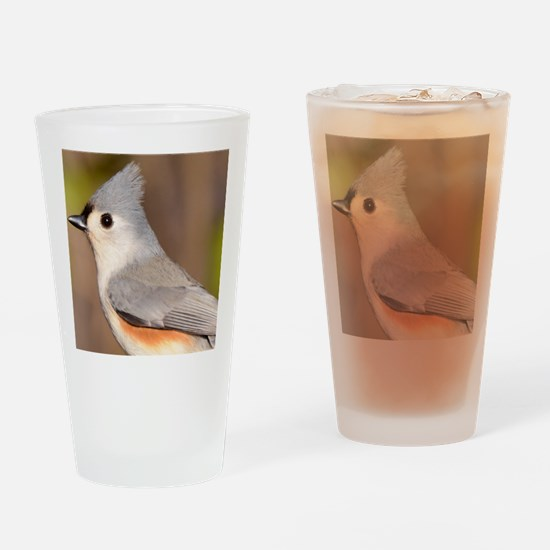 Tufted Titmouse Tile Coaster Drinking Glass
