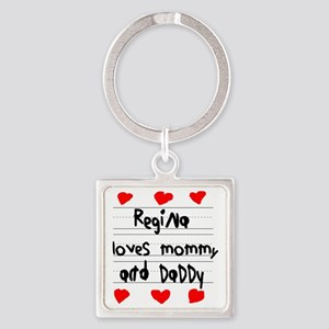 Regina Loves Mommy and Daddy Square Keychain