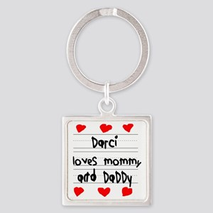 Darci Loves Mommy and Daddy Square Keychain