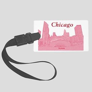 ChicagoBeanSkyline_Rectangle_Red Large Luggage Tag
