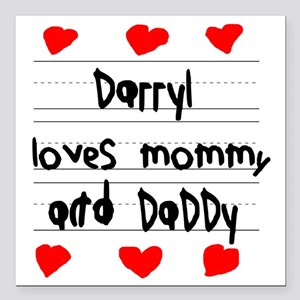 """Darryl Loves Mommy and D Square Car Magnet 3"""" x 3"""""""