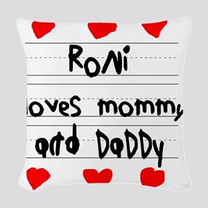 Roni Loves Mommy and Daddy Woven Throw Pillow
