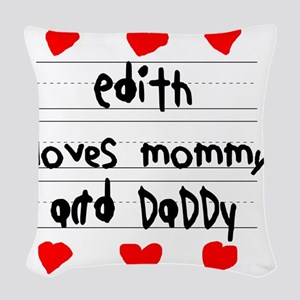 Edith Loves Mommy and Daddy Woven Throw Pillow