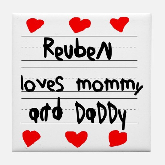Reuben Loves Mommy and Daddy Tile Coaster