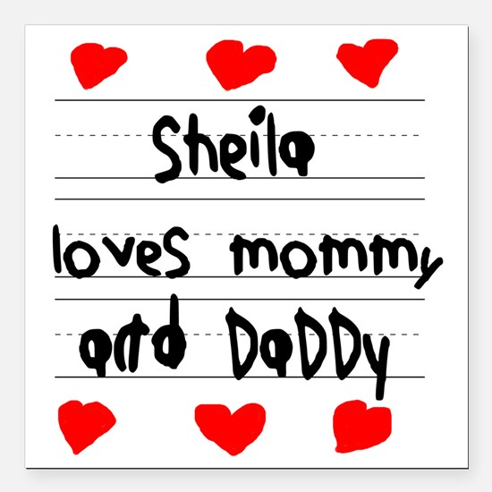 """Sheila Loves Mommy and D Square Car Magnet 3"""" x 3"""""""
