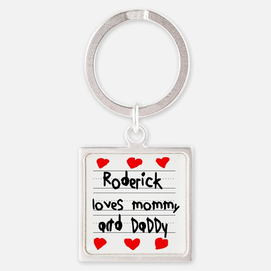 Roderick Loves Mommy and Daddy Square Keychain