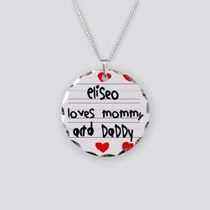 Eliseo Loves Mommy and Daddy Necklace Circle Charm