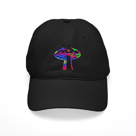 Rainbow Retro Shroomz Black Cap