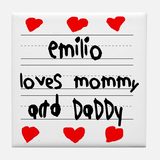 Emilio Loves Mommy and Daddy Tile Coaster