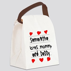 Samantha Loves Mommy and Daddy Canvas Lunch Bag