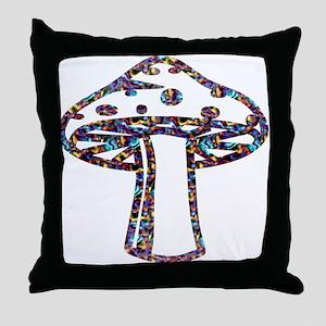 Psychedelic Majik Mushroomz Throw Pillow