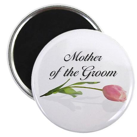 "Pink Tulip Mother of Groom 2.25"" Magnet (100 pack)"