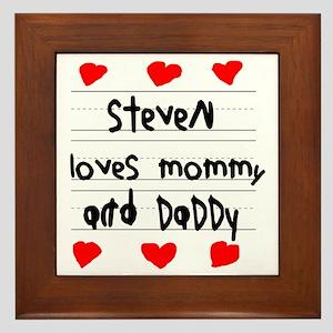 Steven Loves Mommy and Daddy Framed Tile