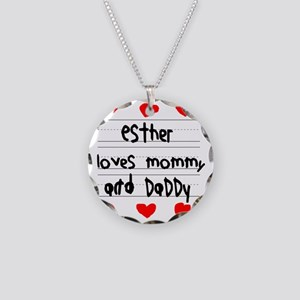 Esther Loves Mommy and Daddy Necklace Circle Charm