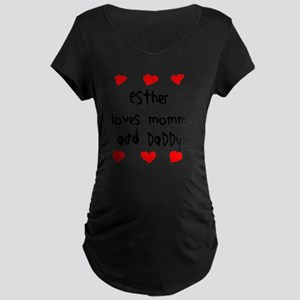 Esther Loves Mommy and Dadd Maternity Dark T-Shirt