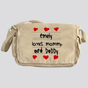 Emely Loves Mommy and Daddy Messenger Bag