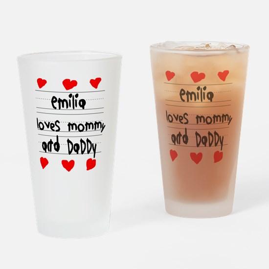 Emilia Loves Mommy and Daddy Drinking Glass