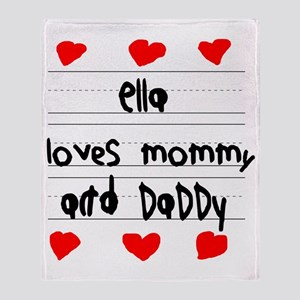 Ella Loves Mommy and Daddy Throw Blanket