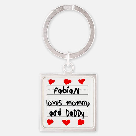 Fabian Loves Mommy and Daddy Square Keychain