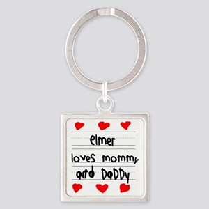 Elmer Loves Mommy and Daddy Square Keychain