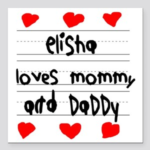 """Elisha Loves Mommy and D Square Car Magnet 3"""" x 3"""""""
