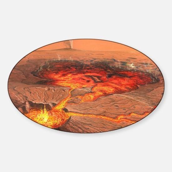 Martian volcanos Sticker (Oval)