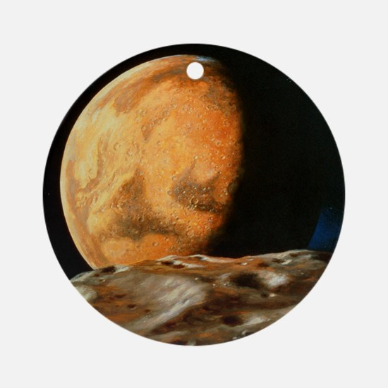 Mars seen from Deimos Round Ornament