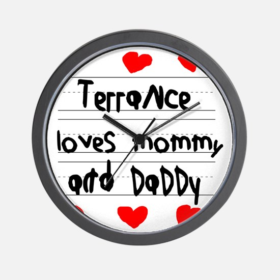 Terrance Loves Mommy and Daddy Wall Clock