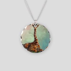 Giraffe Necklace Circle Charm