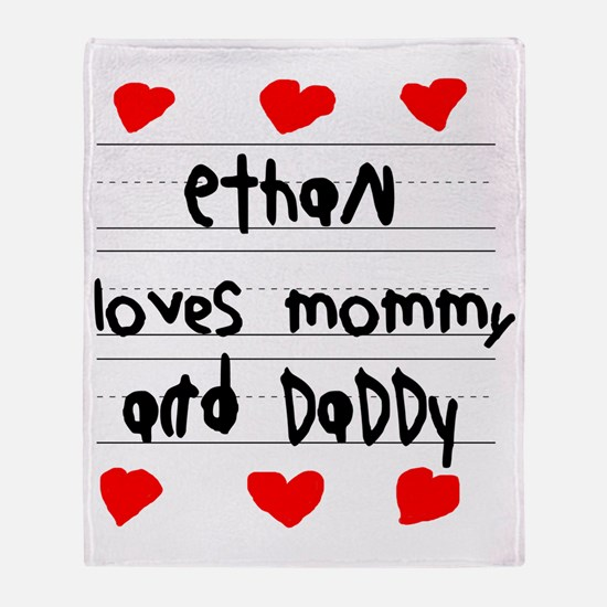 Ethan Loves Mommy and Daddy Throw Blanket