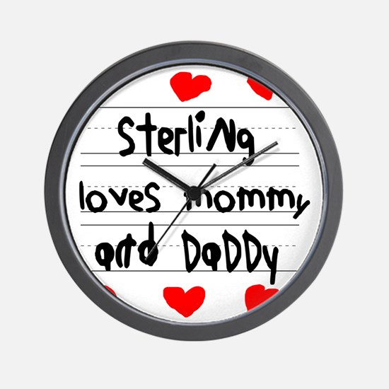 Sterling Loves Mommy and Daddy Wall Clock