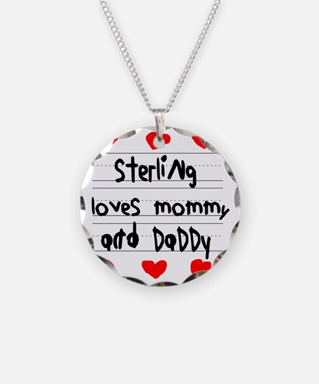 Sterling Loves Mommy and Dad Necklace