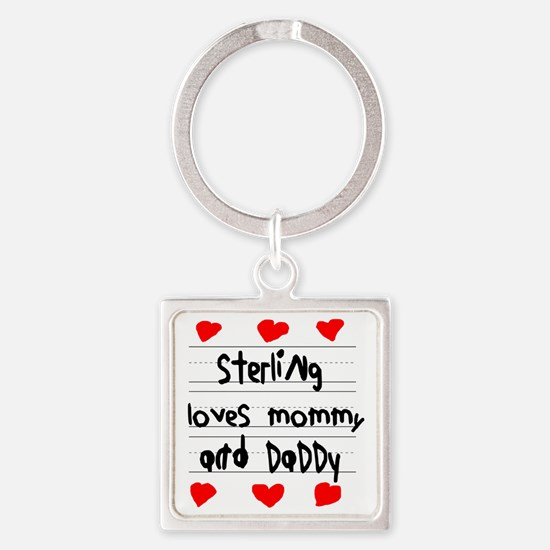 Sterling Loves Mommy and Daddy Square Keychain