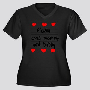 Fiona Loves  Women's Plus Size Dark V-Neck T-Shirt