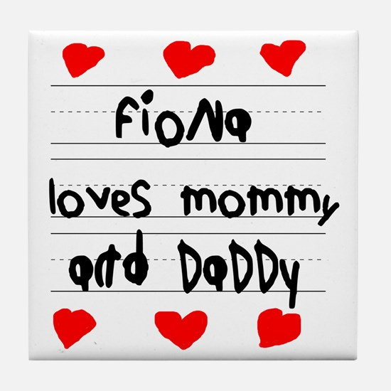 Fiona Loves Mommy and Daddy Tile Coaster