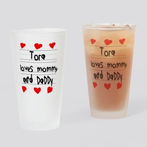 Tora Loves Mommy and Daddy Drinking Glass