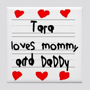 Tara Loves Mommy and Daddy Tile Coaster
