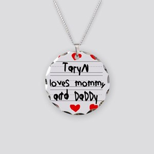 Taryn Loves Mommy and Daddy Necklace Circle Charm