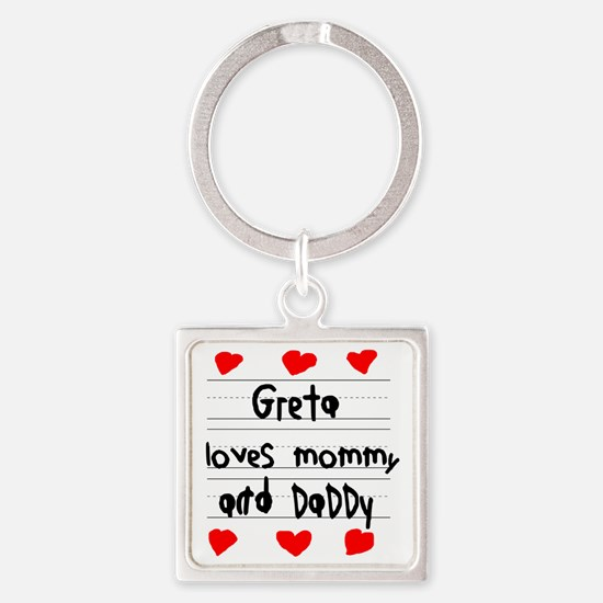 Greta Loves Mommy and Daddy Square Keychain