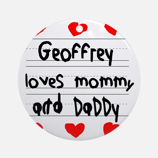 Geoffrey Loves Mommy and Daddy Round Ornament