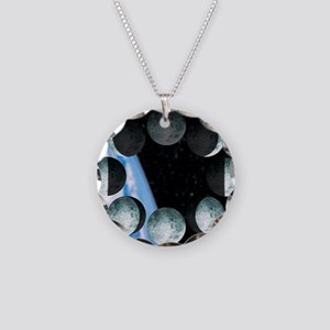 Phases of the Moon Necklace Circle Charm
