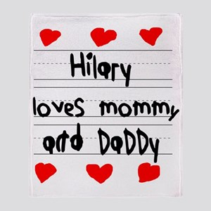 Hilary Loves Mommy and Daddy Throw Blanket
