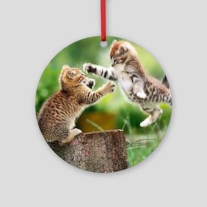 Ninja Kittens Round Ornament