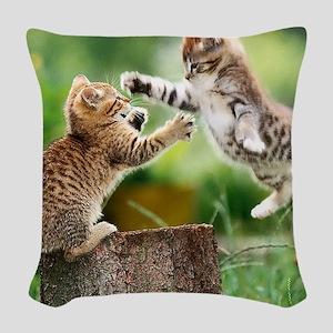 Ninja Kittens Woven Throw Pillow