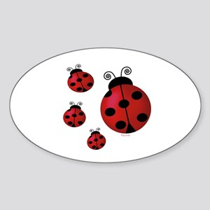 Four ladybugs Oval Sticker