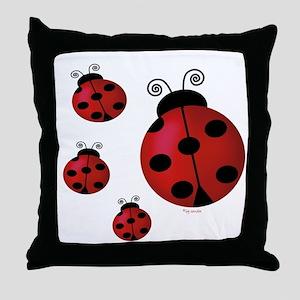 Four ladybugs Throw Pillow