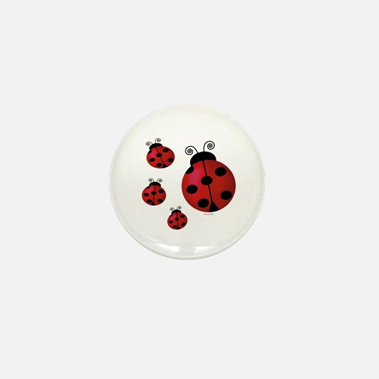 Four ladybugs Mini Button