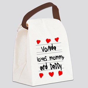 Vonda Loves Mommy and Daddy Canvas Lunch Bag