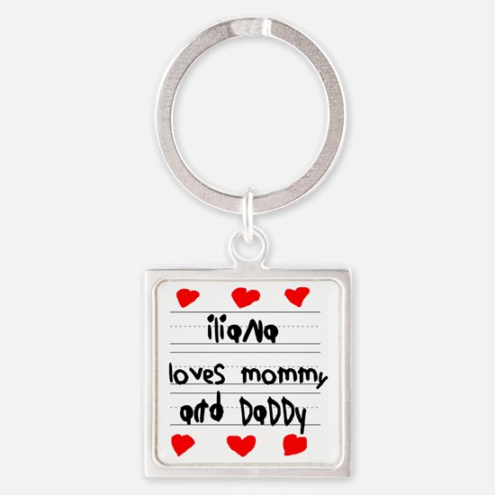 Iliana Loves Mommy and Daddy Square Keychain