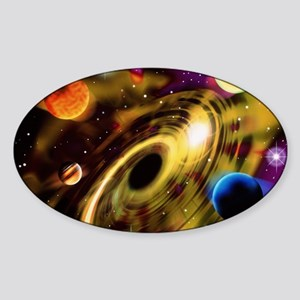 Planets around a black hole Sticker (Oval)